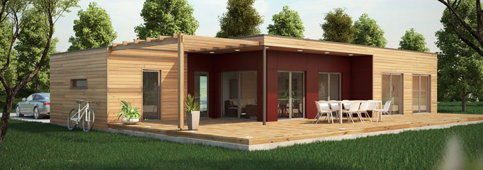 Maison ossature bois contemporaine t4 80 91m2 - Construction modulaire contemporaine ...